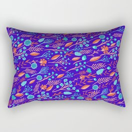 Purple, Orange & Turquoise Blue Floral Pattern Rectangular Pillow