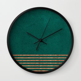 EMERALD COPPER GOLD BRASS STRIPES Wall Clock