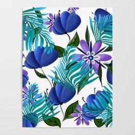 Blue, purple flowers.Floral pattern Poster