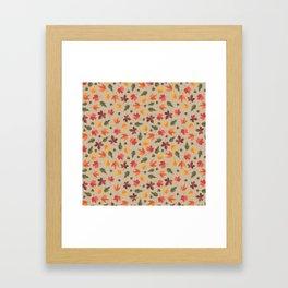 Autumn Leaves Pattern Beige Background Framed Art Print