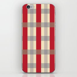 Red Striped Plaid iPhone Skin