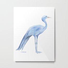 Blue Crane Watercolor Metal Print