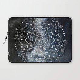 Namaste white mandala on blue Laptop Sleeve
