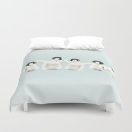 Playful Penguin Chicks - Watercolor Painting Duvet Cover
