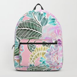 Blush pink lavender green white watercolor hand painted flowers Backpack