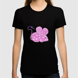 Miss Mousy Pinkie with Purple Petunia T-shirt