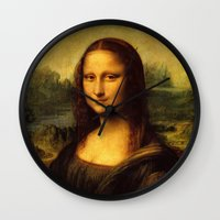 mona lisa Wall Clocks featuring Mona Lisa by Color and Patterns