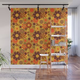 Funky Daisy Floral in Electric Orange Wall Mural