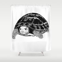 tortoise Shower Curtains featuring Tortoise by Emma Barker