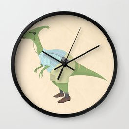 Hipster Dinosaur jams to some indie tunes on his walkman Wall Clock