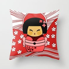 Kokeshi Sakura Throw Pillow