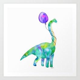 brachiosaurus with balloon Art Print