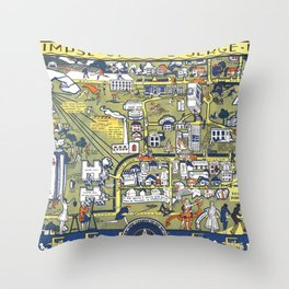 TEXAS University map DENTON dorm decor Throw Pillow