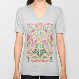 Tropical Pattern in Pink and Green Unisex V-Neck
