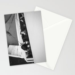 Smokers on a deck - Black and white street photography Stationery Cards