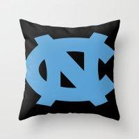 north carolina Throw Pillows featuring NCAA - North Carolina Tarheels by Katieb1013