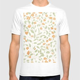 Spring Orange Floral Pattern T-shirt