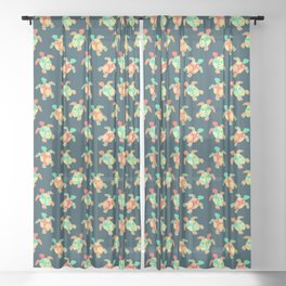 Cute Flower Child Hippy Turtles Sheer Curtain