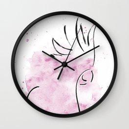 Cockatoo Abstract Brush - Pink Wall Clock