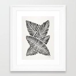 Tropical Banana Leaves – Black Palette Framed Art Print
