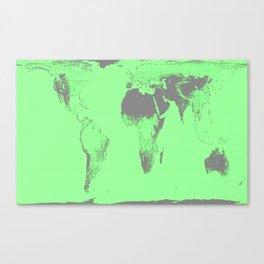 World Map : Gall Peters Seafoam Green Canvas Print