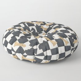 Chess Figures Pattern -Leather and gold Floor Pillow