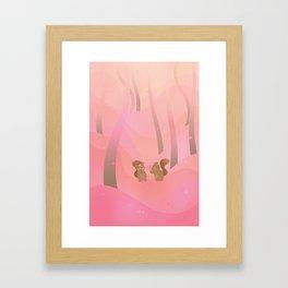Be My Valentine (Cartoon Squirrels, Coral Pink Spring Forest) Framed Art Print