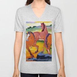 """Franz Marc """"Grazing Horses IV (The Red Horses)"""" Unisex V-Neck"""