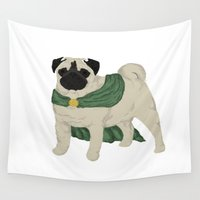 celtic Wall Tapestries featuring Celtic pug by Victoria-Anne