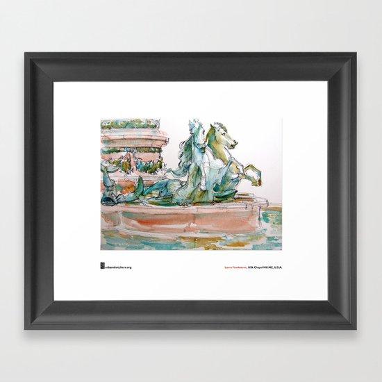 """Laura Frankstone, """"Fontaine de l'Observatoire, Paris"""" Framed Art Print"""