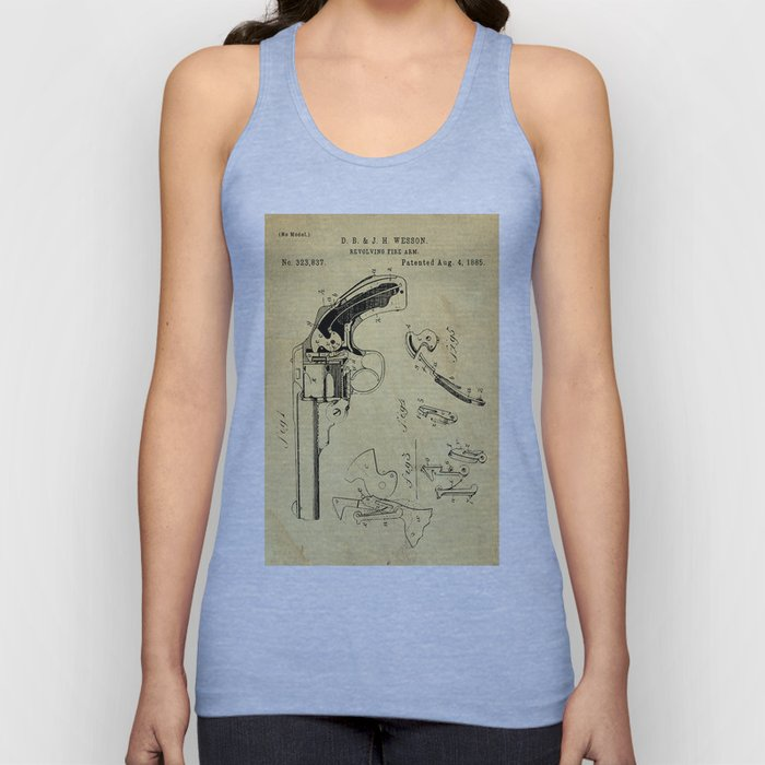 Revolving Fire Arm Support Patent Drawing From 1885 Unisex Tank Top