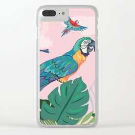 Treetop Parrots Clear iPhone Case