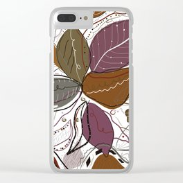 Active Wear Abstract Leaves Pattern Clear iPhone Case