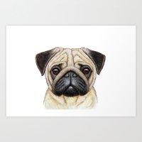 pug Art Prints featuring Pug by Nika Akin