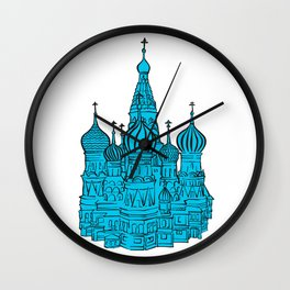 Moscow Kremlin illustration with colored backplate. Wall Clock