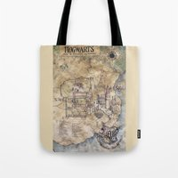 hogwarts Tote Bags featuring Hogwarts Map by Sarah Ridings