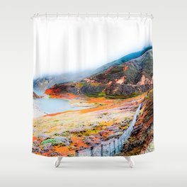 mountain with ocean view at Big Sur, California, USA Shower Curtain