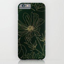 Elegant Gold Flowers Outlines Green Gradient Design iPhone Case