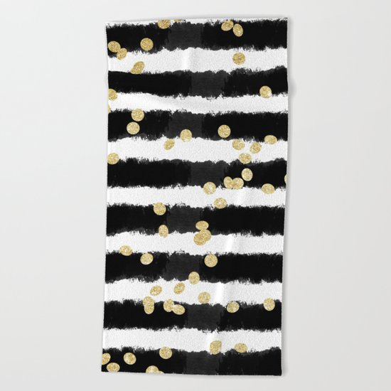Modern black watercolor stripes chic gold confetti Beach Towel