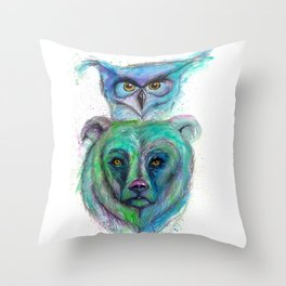 Owl and Bear Totem Throw Pillow