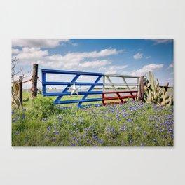 Lone Star Gate With Bluebonnets - Ennis, TX Canvas Print