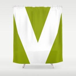 Sans Serif V. White on Green. Shower Curtain