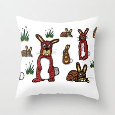 Stressed Rabbits on Acid Throw Pillow