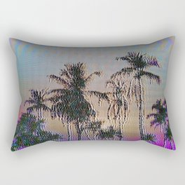 Analogue Glitch Palm Trees Sunset Rectangular Pillow
