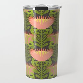 King Protea Flower Pattern - Gray Travel Mug