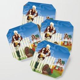 Thanksgiving Day. Beautiful pilgrim girl. Coaster