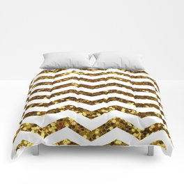 Golden Sparkle Zig Zag Stripes Comforters