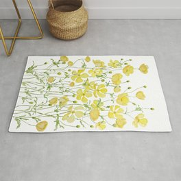 yellow buttercup flowers filed watercolor  Rug
