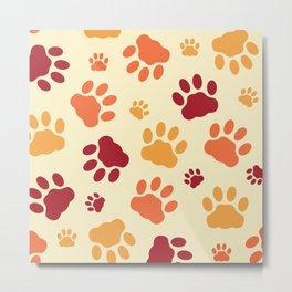 Cat Paws Pattern Metal Print