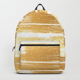Abstract faux gold white modern paint brushstrokes Backpack